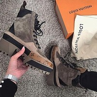 Louis Vuitton LV woman Martin short boots with thick lace shoes