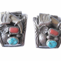 Navajo Turquoise and Coral Bear Claw Watch Bands by Ervin Tsosie