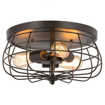 CO-Z 15 Inch Industrial 3-Light Vintage Metal Cage Flush Mount Ceiling Light, Oil Rubbed Bronze Finish, Rustic Ceiling Lighting Fixture for Bedroom, Dining Room, Living Room, Farmhouse Lighting Oil-rubbed Bronze Finish