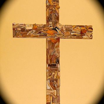 "Handmade Driftwood Cross - Reclaimed Wood cross -24""x18""x3"". Very Unique Small Pieces of Driftwood and Petrified Wood - Ready to Ship."