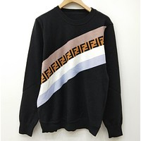 Fendi F Striped Color Letter Round Neck Collar Knitted Sweater-2