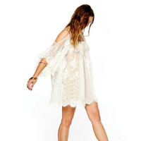 Hippie Boho Bohemian White Lace Dress