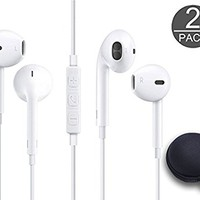 THE Electronics Wired 3.5MM Snow White Earphone/Earbuds/Headphones +1 Carry Case w/ Remote and Mic for Apple Samsung HTC Google Nokia Android smartphones Tablets ( (Qty 2x - White)