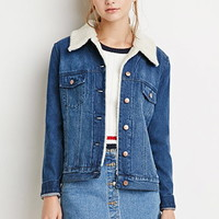 Faux Shearling Denim Jacket