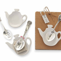 Tea Bag Holder and Spoon Set (2 assorted)