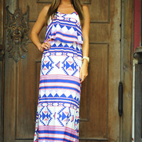 Mayan Me Crazy Maxi: Navy/Pink | Hope's