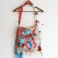 Canvas bags, Cotton bags, Hippie bags, Baby care bags, Modern bags, Flower bags, Boho handbags, Women's accessories, Cream red lace bag