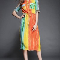 Mid-length Sleeves Round Neckline Floral Prints Waist Tie Front Pocket Maxi Dress