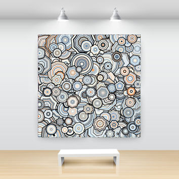 Apricot, Taupe and Blue Open Edition Art Print, Particle Stars, Abstract Generative Art, large sizes, by San Francisco artist Kristin Henry