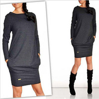 Fashion Autumn Winter Women Dress New Casual Clothing Work Wear Office Party Dresses Long Sleeve Plus Size Vestidos