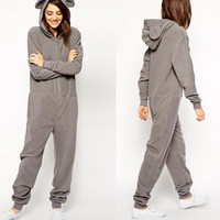 Lovely bear ear hoodoed sweatshirt zipper casual jumpsuit HY-142508680