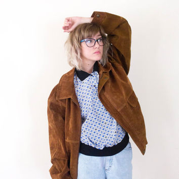 90's brown suede jacket, vintage tan versace, italian leather coat, 1990s ironic vtg tumblr soft grunge vaporwave, art hoe, urban outfitters