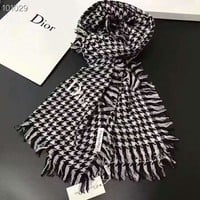 Dior Classic Popular Woman Cashmere Cape Tassel Scarf Scarves Shawl Accessories Grey