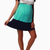 Mint Navy White Belted Maternity Dress