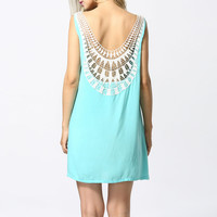Lace Embroidered Sleeveless Back Cutout Mini A-Line Dress