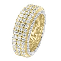 3 Row Sterling Silver Men's Fully Icy Solitaire 14k Gold Finish Eternity Wedding Ring Band