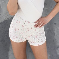 Dainty Pink Flower Lace Shorts