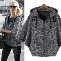 ForeMode Bat Sleeve Hooded Cardigan Jacket Women Repair Idle Jacket Plus Size Coat  Outerwear Long sleeve Jackets
