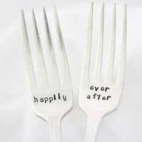 Happily Ever After- hand stamped vintage forks, for wedding or engagement gift .READY TO SHIP