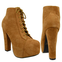 Womens Ankle Boots Chunky High Heel Suede Lace Up Shoes Tan SZ