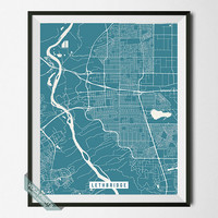 Lethbridge Print, Canada Map Poster, Lethbridge Street Map, Canada Print, Alberta, Room Decor, Modern Print, Back To School