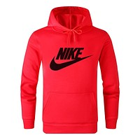 N NIKE New fashion letter hook print hooded long sleeve sweater top Red