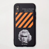 Off White New Fashion Letter People Stripe Print Women Men Phone Case Protective Cover Black