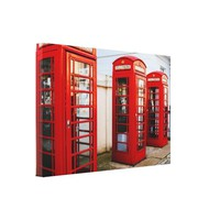 Red Telephone Booths in London, Photograph Canvas Print