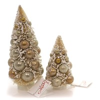 Christmas SISAL TREE GOLD BALLS Plastic Snow Locked St/2 37348