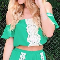 Emerald City Green Co-ord Crop Top