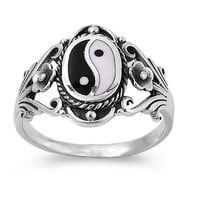925 Sterling Silver Natural Duality Yin and Yang Ring