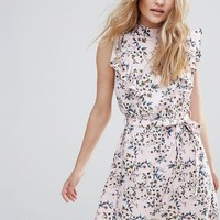 Influence High Neck Ruffle Floral Skater Dress at asos.com
