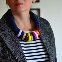 Fall accessories/fall fashion/fall colors/chunky statement necklace/knit necklace/cotton necklace/statement necklace/fall trend