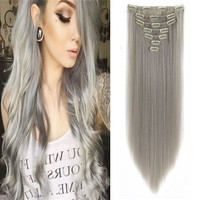 1PC 22inch Women Hair Extension Dark Grey Clip in Hair Extension Fashion Straight Full Head Synthetic Hair Natural Hairpiece