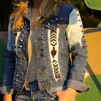 Denim super studded with hand painted Tribal/Aztec print. All sizes.