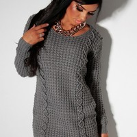 Thaw Grey Thick Cable Knit Jumper Dress   Pink Boutique