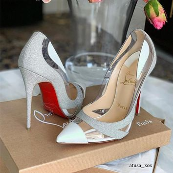 ( S C ) Christian Louboutin 2021 Silver sand New pointed high heels