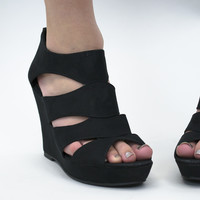 Black Beauty Wedge Shoes