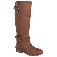 Top Moda COCO-61 Women's Knee High Round Toe Cross Strap With Buckle Flat Boots