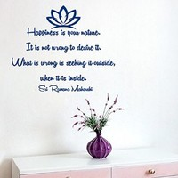 Wall Decals Lotus Vinyl Stickers Flower Wall Quote Decal Happiness Is Your Nature It's Not Wrong to Desire It What Is Wrong Is Seeking It Outside When It's Inside Yoga Studio Interior Design Home Art Murals Decals for Bedroom Living Room Decor KT141