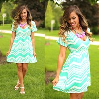 Jump Right in Chevron Dress in Mint