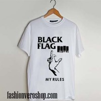 Black Flag My Rules Punk Rock And Roll Band T shirt