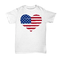 Fourth of July Distressed American Flag Heart Shirt
