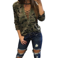 FUNOC Long Sleeved Lace Up Camo Print V-Neck