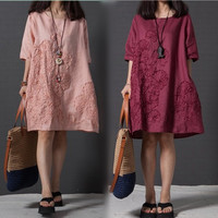 Vestido 2017 Summer Chinese Style Women Dress O Neck Loose Plus Size Embroidered Linen Dress Elegant Short Sleeve Casual Dresses