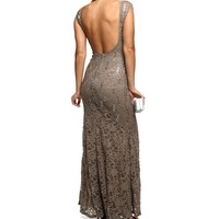 Denice- Taupe Sequin Homecoming Dress