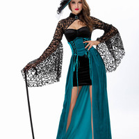 Blue Bell Sleeve Lace Witch Halloween Costume