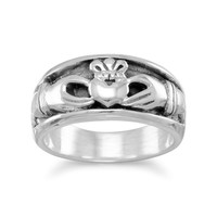 Oxidized Inset Claddagh Ring