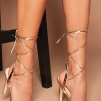 Luxe To Kill Rose Gold Kimberly Lace Up Perspex Strap Heels