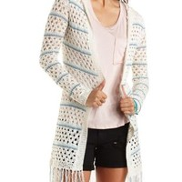 Striped Hooded Open Weave Cardigan by Charlotte Russe